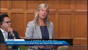 What does Leona Alleslev's defection say about her?